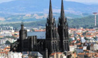 Clermont-Ferrand city is famous for the group of surrounding volcanoes.