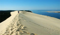 Travel to Dune du Pilat; the 'greatest sand dune in Europe'.
