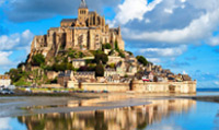 The Mont Saint-Michel is a religious landmark located on an island.