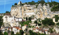 Travel to Rocamadour and town located on a rocky plateau and known for its religious and historical significance.