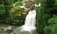 Travel to Saut du Doubs waterfall, located in Villiers-le-Lac.