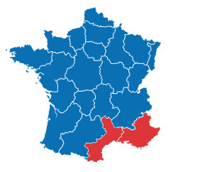 South east France map